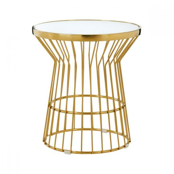 Tusca Gold Finished Stainless Steel Side Table