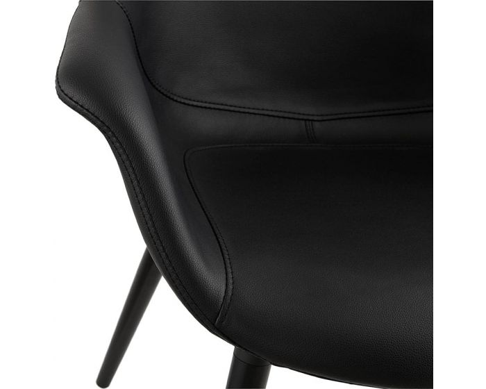 Tyra Black Faux Leather Curve Chair