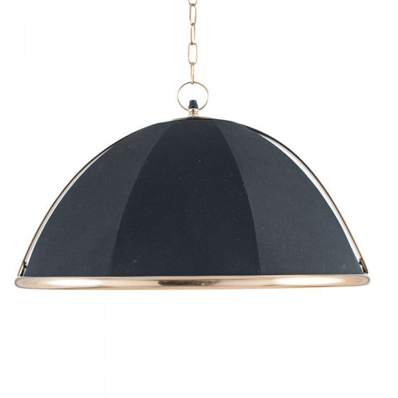 Umbrella Black Fabric and Gold Detail Metal Pendant