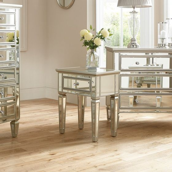 Venetian Style Mirrored 1 Drawer Bedside Table