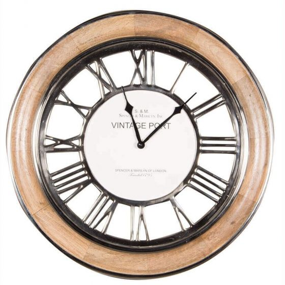 Vintage Port Mango Wood and Nickel Wall Clock