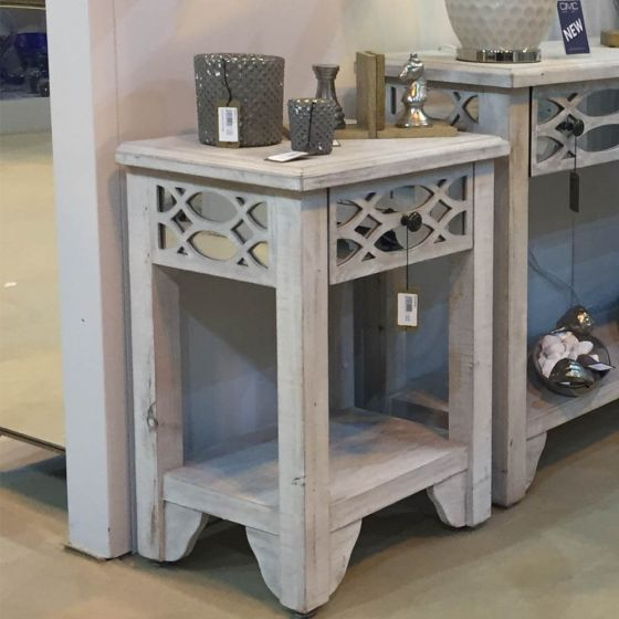 Washed Ash 1 Drawer Side Table