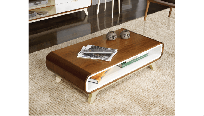 Walnut and White Coffee Table Arcus