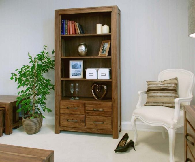 Walnut Large 4 Drawer Bookcase