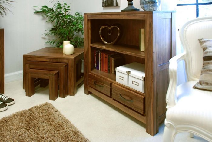 Walnut Low Bookcase