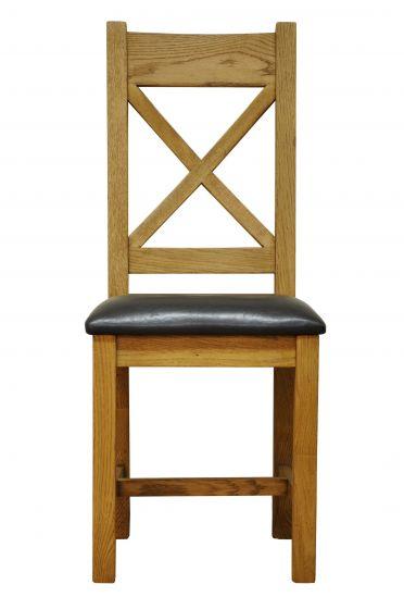 Waxed Oak Finish Crossback Chair Pu Seat