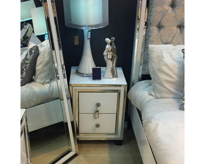 White Glass And Mirrored New York 2 Drawer Bedside Cabinet