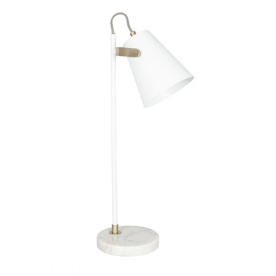 White and Brushed Brass Marble Base Table Lamp