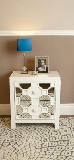 White Geometric Mirrored Side Chest