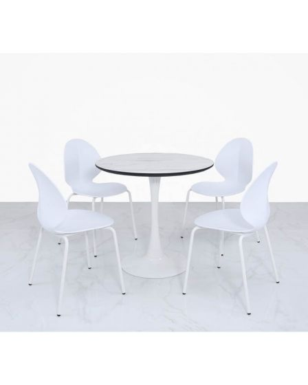 White Gloss and Metal Diane Dining Set