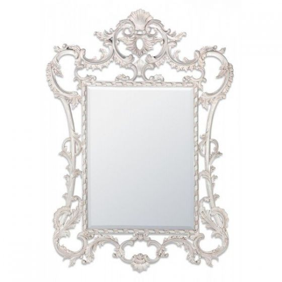 White Hand Carved Wooden Mirror Frame