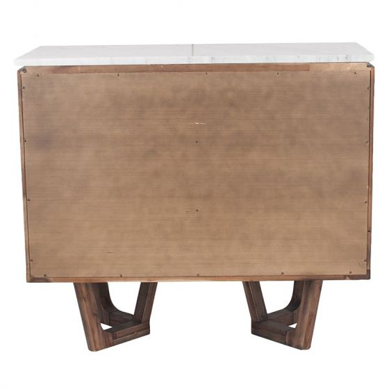 White Marble & Brown Acacia Wood 6 Drawer Chest