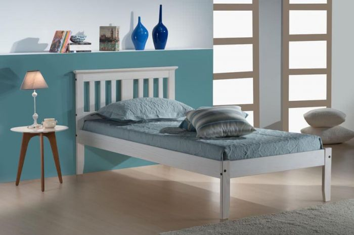 Bahia Waxed Pine or White Single & Double Bed Frames