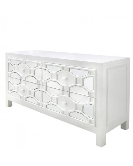 White Geometric Mirrored TV Unit