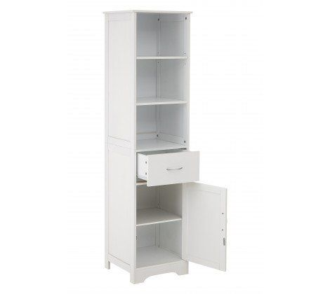 White Wood Tall Cabinet With 3 Shelves