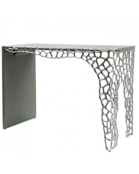 Wood and Nickel Cluster Console Table