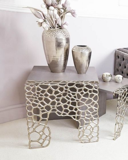Wood and Nickel Cluster Side Table