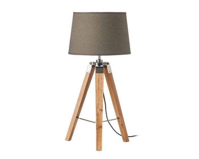 Natural Tripod Table Lamp With Grey Shade