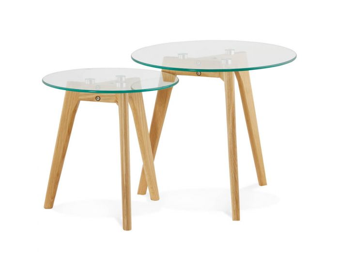 Malena Set Of 2 Solid Oak Tables