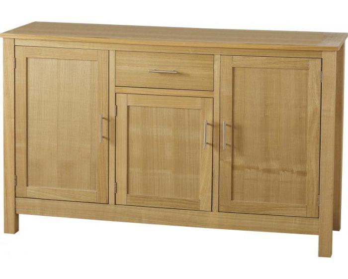 Oak Veneer 3 Door 1 Drawer Sideboard