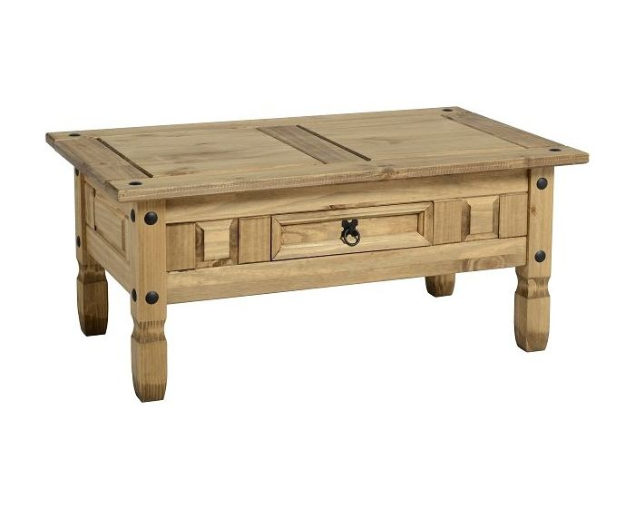 Corona Studded Pine 1 Drawer Coffee Table