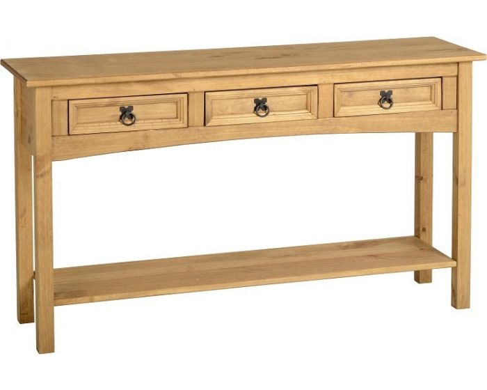 Pine 3 Drawer Console Table with Shelf