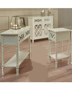 Sara Ivory Mirrored Pine 2 Drawer Sideboard
