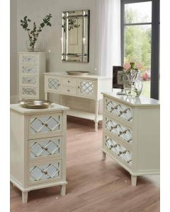 Sara Ivory Mirrored Pine 5 Drawer Tallboy