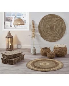 2 Tone Seagrass and Corn Husk Leaf Round Rug
