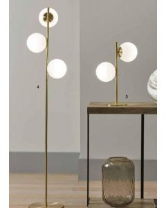 3 White Orb Metal Gold Floor Lamp