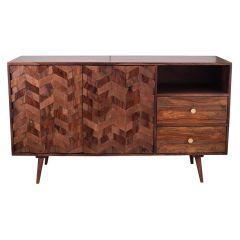 3D Honeycomb Design Sheesham Wood Sideboard