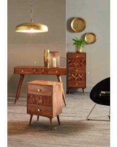 3D Honeycomb Design Sheesham Wood Bedside Chest