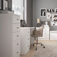 Cheshire White 5 Drawer Narrow Tallboy Chest