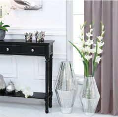 45cm Silver Stripe Glass Vase