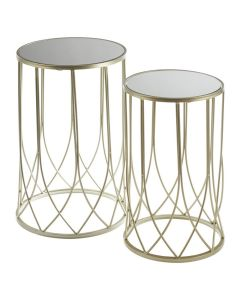 Avantis Champagne and Mirror Glass Metal Tables