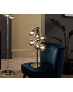 8 Ball Smoke Glass Orb and Chrome Table Lamp