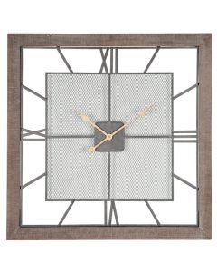 Abby Natural Wood & Metal Square Wall Clock