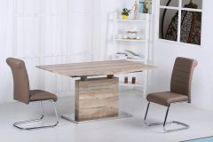 Abstract Natural Oak Effect Extending Dining Set