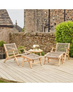 Acacia Wood Sesto Lounge Chair & Hocker Set