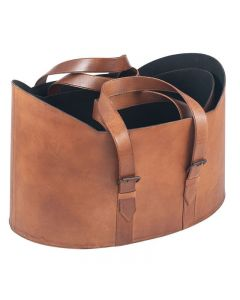 Alessia Rustic Brown Leather Set of 2 Storage Baskets