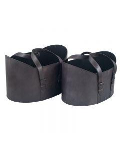 Alessia Steel Grey Leather Set of 2 Storage Baskets