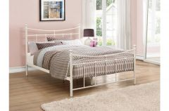 Alicia Black Or Cream Steel Double Bed Frames
