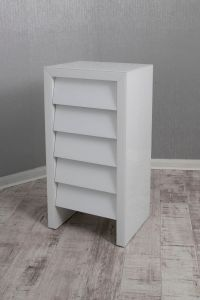 Alyeska White Glass 5 Drawer Tall Chest