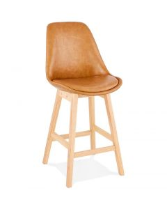 Andre Tan Brown Leather Effect Bar Stool