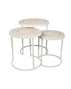 Antique Aged White and Cream Wooden Set of 3 Side Tables