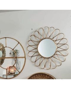 Antique Gold Metal Petal Frame Round Wall Mirror
