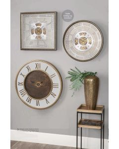 Antique Gold Wood & Mirror Geometric Wall Clock