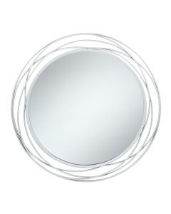 Antique Silver Swirl Metal Round Wall Mirror