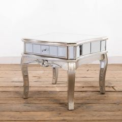 Antonia Shabby Silver Mirrored Low End Table