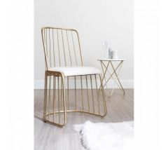 Art Deco White Linen Chair
